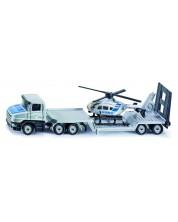 Jucarie metalica Siku Super - Camion cu remorca si elicopter de politie, 1:87