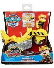 Jucarie Spin Master Paw Patrol Moto Pups Deluxe - Rubble, cu motocicleta