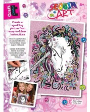 Set creativ KSG Crafts Sequin Art Gorjuss - Arta cu paiete, Unicorn