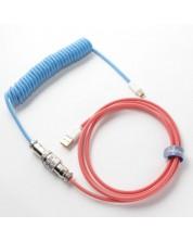 Cablu pentru tastatura Ducky - Bon Voyage, USB-A/USB-C, albastru/rosu