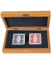 Carti de joc Manopoulos - In cutie din lemn, nuc deschis