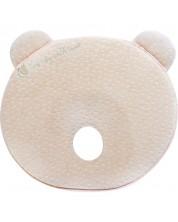 Perna ergonomica cu spuma de memorie Kikka Boo - Bear, Beige Velvet -1
