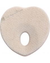Perna ergonomica cu spuma de memorie Kikka Boo - Heart, Beige Velvet -1