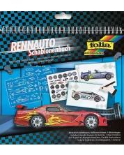 Carte de desen cu stickere si sabloane Folia - Masini de curse -1