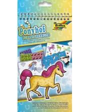 Carte de desen cu stickere si sabloane Folia - Ponei -1