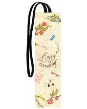 Separator de carte cu elastic Simetro - Floricele roz Enjoy reading -1
