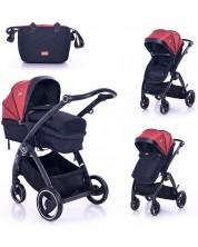 Carucior combinat pentru copii Lorelli  - Adria, Black and Red -1