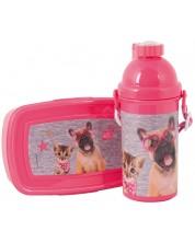 Set sticla de apa si cutie pentru mancare Paso Studio Pets - Catel cu ochelari in forma de inimioara