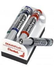 Set markere Pentel Board Maxfilo - 6.0 mm, 4 bucati + burete -1