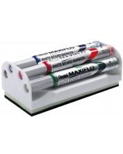 Set markere Pentel Board Maxfilo - 4.0 mm, 4 bucati + burete -1