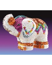 Set creativ KSG Crafts Sequin Art - figurina 3D din paiete, Elefant