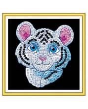 Set creativ KSG Crafts Sequin Art - Arta cu paiete pentru 60 de minute, Tigru alb