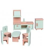 Set mini mobilier din lemn Lelin - Bucatarie, 7 piese -1