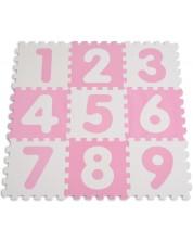 Puzzle pardoseala din spuma moale pentru copii  Sun Ta - Cifre, 9 piese, roz -1