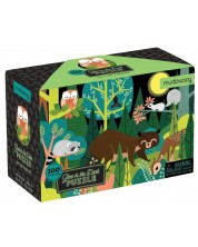 Puzzle pentru copii Mudpuppy de 100 piese - Locuitori padurii, luminos in intuneric