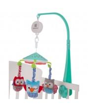 Carusel muzical pentru patut Kikka Boo Owls - Cu proiector, menta -1