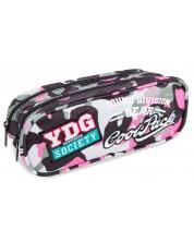 Penar scolar elipsoidal Cool Pack Clever - Camo Pink Badges, cu 2 compartimente