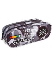 Penar elipsoidal Cool Pack Clever - Camo Black Badges, cu 2 compartimente