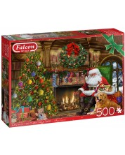 Puzzle Falcon de 500 piese - Santa by the fireplace