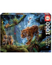 Puzzle Educa de 1000 piese - Tigers in the tree
