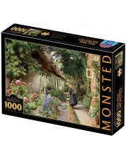 Puzzle  D-Toys de 1000 piese - An Old Woman Watering the Flowers Behind a Thatched Farmhouse -1