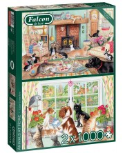Puzzle Falcon din 2 x 1000 piese- Animals at Home