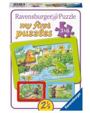 Puzzle Ravensburger din 3 х 6 piese - Small animals in the garden