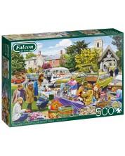 Puzzle  Falcon de 500 piese - Village Church Car Boot Sale -1