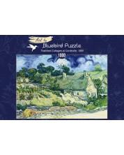 Puzzle Bluebird de 1000 piese - Thatched Cottages at Cordeville, 1890