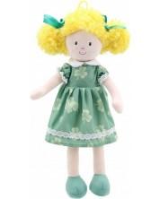 Papusa din carpa The Puppet Company - Fetita cu rochie verde, 38 cm