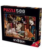 Puzzle Anatolian de 500 de piese - Pisici in biblioteca