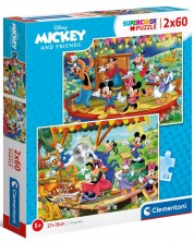 Puzzle Clementoni de 2 x 60 piese - Mickey and Friends