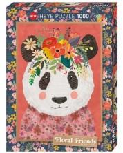 Puzzle Heye de 1000 piese - Floral Friends Cuddly Panda