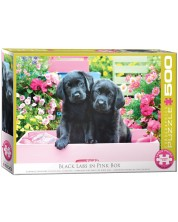 Puzzle Eurographics de 500 XXL piese - Black Labs in Pink Box