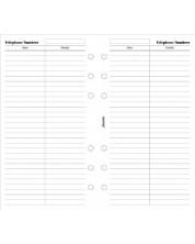 Rezerva pentru organizator Filofax Personal - Nume si telefon