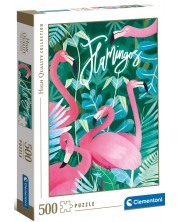 Puzzle Clementoni de 500 piese - Fantastic Animals Flamingos