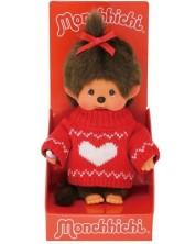 Jucarie de plus Monchhichi - Maimuta fetita cu pulover, 20cm