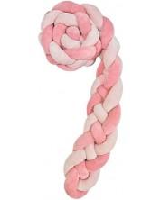 Protectie laterala din plus pentru patut Kikka Boo - impletita in 4, 180 cm, pink -1