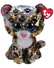 Jucarie de plus cu paiete TY Toys Flippables - Leopard Sterling, 15 cm