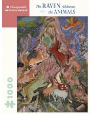 Puzzle Pomegranate de 1000 piese - Corbul se adreseaza animalelor -1