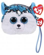 Portofel cu paiete TY Toys - Husky Slush, 10 cm