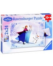 Puzzle Ravensburger din 2 x 24 piese - Regatul de gheata - Surori pentru totdeauna