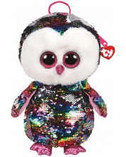 Rucsac de plus cu paiete TY Toys - Bufnita Owen, 25 cm