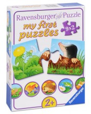 Puzzle Ravensburger din 9 x 2 piese - Animale in gradina -1