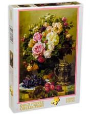 Puzzle Gold Puzzle de 1000 piese - Trandafiri si farfurie cu struguri si prune