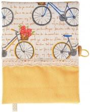 Coperta carte: Bicicleta cu trandafiri (coperta textila cu nasture) -1