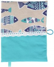 Coperta carte: Pesti, baza albastra, dantela (coperta textila cu nasture) -1