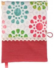 Coperta carte: Flori rosi si albastre (coperta textila cu nasture) -1