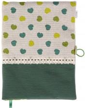 Rochie pentru carte: Inimioare verzi, fond verde, dantela (Coperta textila cu nasture) -1