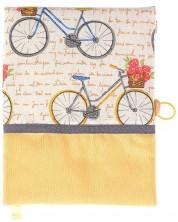 Coperta carte: Bicicleta cu trandafiri - banda maro (coperta textila cu nasture) -1